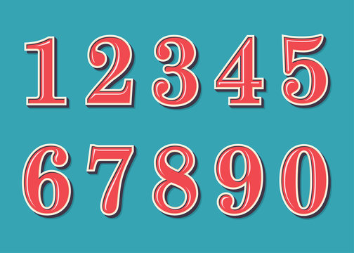 Numbers retro vintage style. Vector illustration