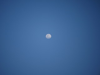 moon and clear blue sky