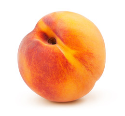 Fresh red and yellow peach fruit isolated on the white background with clipping path. One of the best isolated peaches that you have seen.