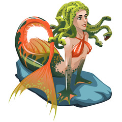 Mermaid with hair of snakes isolated on a white background. Vector cartoon close-up illustration.