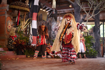 BALI ISLAND, INDONESIA - February 15, 2013: Beautiful theatrical performance with mythical creatures, dance Kechak.