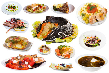 View of many plates with different food over white background