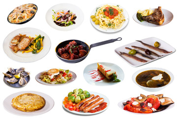 Set of many plates with tasty food over white background