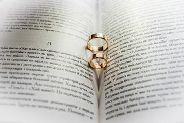 Ukraine, Lviv region, Zolochiv district, village Bilyi Kamin, May 19, 2018 wedding rings on an open book