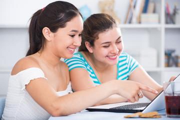 Smiling teenage girls using laptop