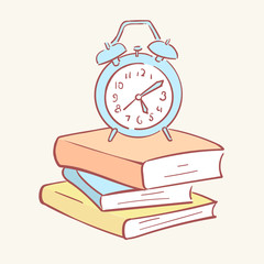 Pile stack alarm clock books hand drawn style vector doodle design illustrations