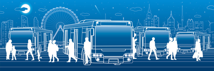 Wall Mural - Transportation panoramic set. Passengers enter and exit to the bus. People at the station. Town transport infrastructure. Night city at background, vector design art