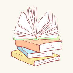 Pile stack books hand drawn style vector doodle design illustrations