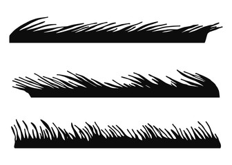 grass bent silhouette. isolated vector illustration. on a white background