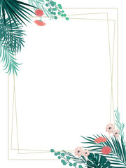 Vector tropical jungle background with leaves and exotic flowers