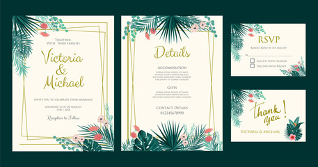 Wedding Invitation, floral invite thank you, rsvp card, detail page, tropical palm leaf frame pattern. Vector template
