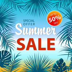 Summer sale banner with tropical leaves background