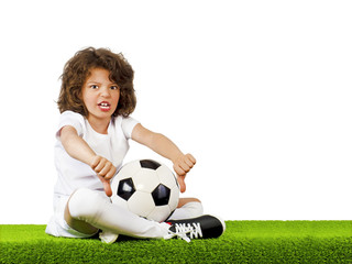 I do not like this. Bad football, judge. Little beautiful boy in uniform sitting on grass with soccer ball showing his thumbs down. Dislike.