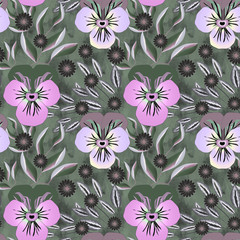 Seamless floral pattern . Cute flowers of viola on a gray background.