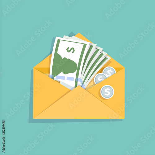 Open yellow envelope with cash money and silver coins