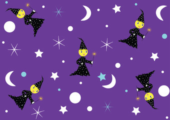 Night paper for kids. Image wrapping paper or fabric for small children for a good night with my night elf with a sparkler.