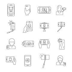 Selfie video photo people posing icons set. Outline illustration of 16 selfie video photo people posing vector icons for web