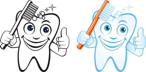 lachender Zahn mit Zahnbürste schwarzweiss und farbig