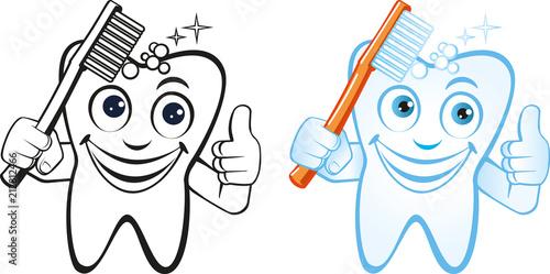 lachender Zahn mit Zahnbürste schwarzweiss und farbig\