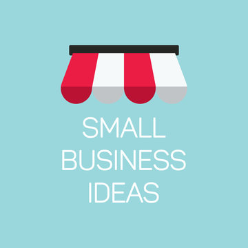 flat concept small business illustration, local store banner on blue background