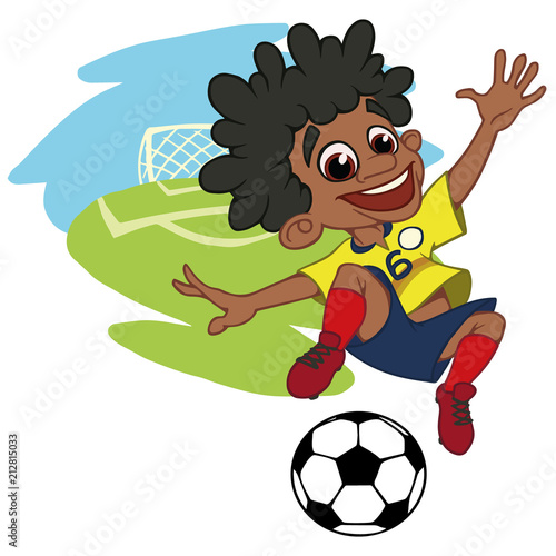 A cartoon soccer player is playing ball in a stadium in uniform Colombia.  Vector illustration 09dd60df0