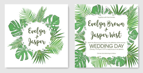 Vector set tropical frame, wedding invitation, label, postcard, save date. Bouquet wreath green palm leaves, sago, monstera, kentia isolated on white background. watercolor