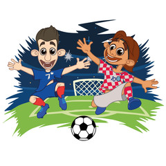 Cartoons Soccer players play the ball at the stadium. Vector illustration