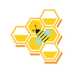 honeycomb and small insect,vector image, flat design