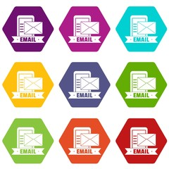Email icons 9 set coloful isolated on white for web