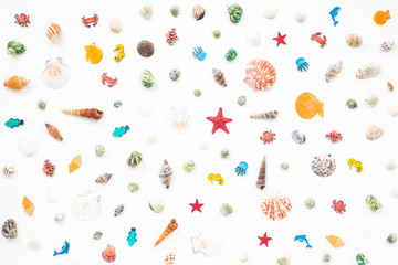 Colorful marine decorations on white background, flat lay, top view