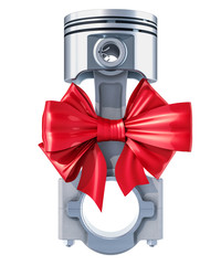 Engine piston with red bow, gift concept. 3D rendering