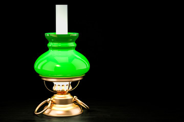 Glowing vintage kerosene lamp on the wooden table, 3D rendering