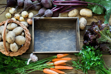 Autumn still life. Fresh fall vegetables, carrot, beetroot, onion, garlic, potato and wooden tray on table. Copy space.
