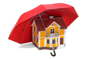 Home security and protection concept. House under umbrella, 3D rendering
