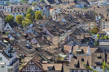 City  Schaffhausen, Switzerland. Historical center . Top view