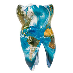 Tooth with blue Earth map texture. Global dentistry concept, 3D rendering