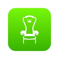 King throne chair icon digital green for any design isolated on white vector illustration