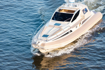 Indoor motor boat on the river. Rest on the river by boat.