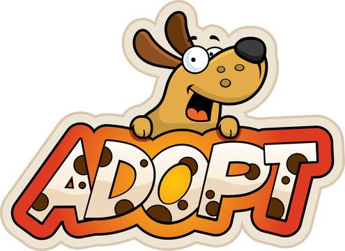 Cartoon Dog Adopt Sign