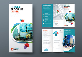 Blue Trifold Brochure Layout with Abstract Spots