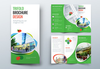 Green Trifold Brochure Layout with Abstract Spots