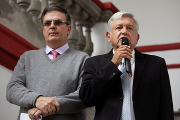 Mexico's President-elect Andres Manuel Lopez Obrador and his designated foreign minister Marcelo Ebrard hold a news conference in Mexico City