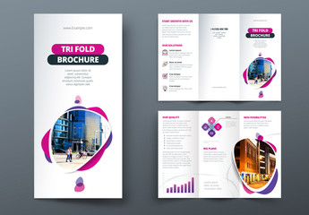 Pink and Purple Trifold Brochure Layout with Abstract Spots