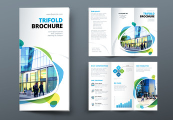 Blue and Green Trifold Brochure Layout with Abstract Spots