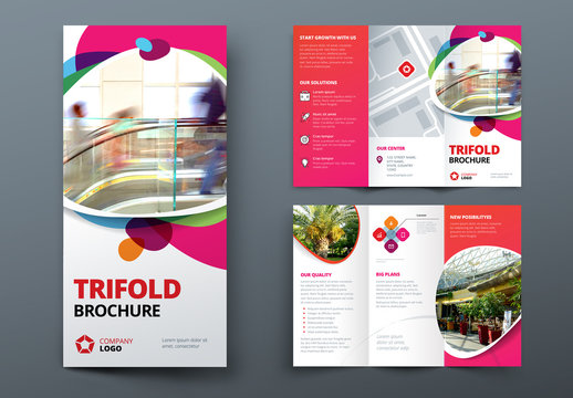 Pink and Red Gradient Trifold Brochure Layout with Abstract Spots