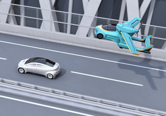 Futuristic flying car flying over a silver sedan driving on highway. Fast transportation without traffic jam concept. 3D rendering image.