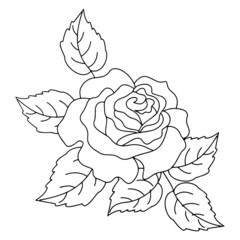 Cute rose cartoon illustration isolated on white background for children color book