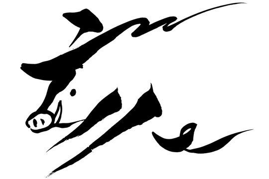 筆絵 「亥」の文字と猪イラスト