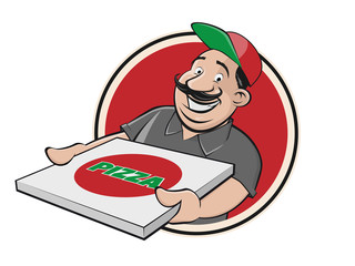 pizza delivery guy stock logo