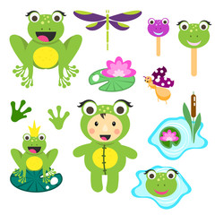 Cute cartoon frog clipart set. Funny frogs illustration for children vector clip art.